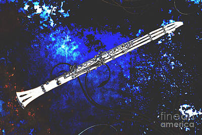 Photograph - Clarinet Music Instrument Over Grunge In Color Blue 3260.03 by M K Miller