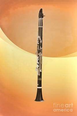Painting - Clarinet Music Instrument Painting In Color Yellow 3258.02 by M K Miller