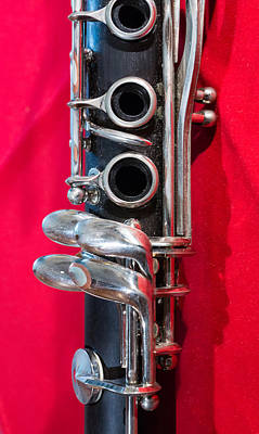 Instrument Photograph - Clarinet On Red Vertical by Photographic Arts And Design Studio