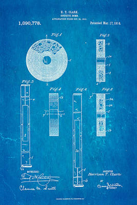 Clark Confetti Bomb Patent Art 1914 Blueprint Art Print by Ian Monk