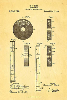 Unique Unusual Gifts Photograph - Clark Confetti Bomb Patent Art 1914 by Ian Monk