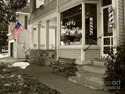 Photograph - Clarks Barber Shop With Stars And Stipes by Tom Brickhouse