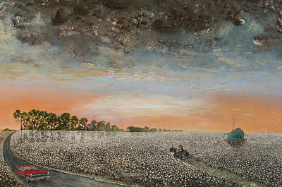 The Cotton Field Painting - Clarksdale Mississippi Highway 61 by Richard Barham