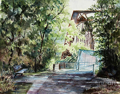 Park Scene Painting - Clarksville Greenway by Janet Felts