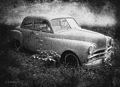 Clasic Car - Pen And Ink Effect Art Print by Brian Wallace
