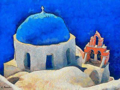 Kyklades Painting - Clasical Santorini by George Rossidis