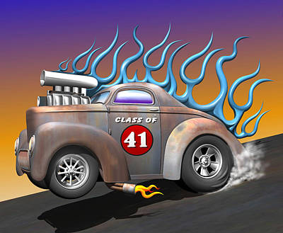 Rat Rod Digital Art - Class Of 41 by Stuart Swartz