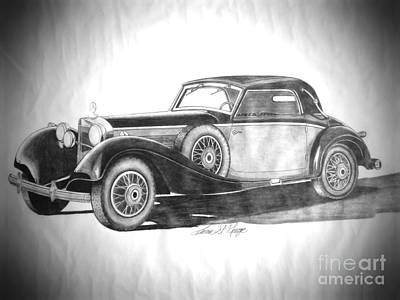 Mercedes Automobile Drawing - Art Deco Era Classic 1936 Mercedes Benz Coupe  by Teresa St George