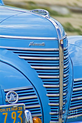 Automobile Photograph - Classic 1939 Plymouth Automobile Turquoise Silver Chrome Grille by David Zanzinger