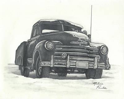 Headlight Drawing - Classic 1950s Chevy Pick-up Truck by Melena Paradee