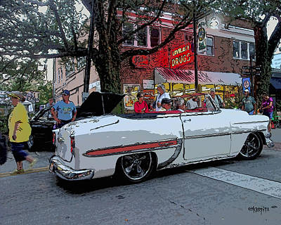 Photograph - Classic 1954 Chevrolet Bel Air Car - Old Chevy Convertible by Rebecca Korpita