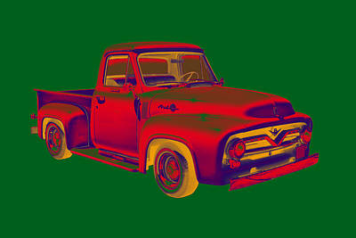 Classic 1955 F100 Ford Pickup Truck Popart Art Print by Keith Webber Jr