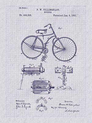 Drawing - Classic 1891 Bicycle Patent Blueprint by Barry Jones