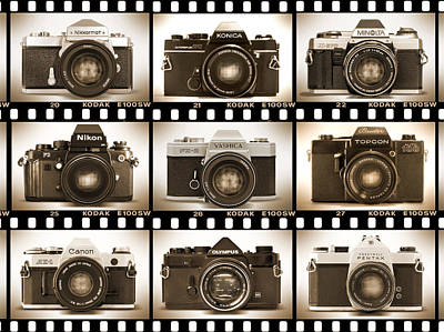 Vintage Camera Wall Art - Photograph - Classic 35mm S L R Cameras by Mike McGlothlen