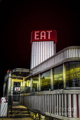 Classic American Diner At Night Art Print by Diane Diederich