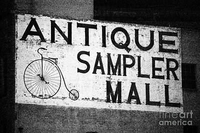 Photograph - Classic Americana Brick Wall Advertisement Sign Film Grain Black And White by Shawn O'Brien