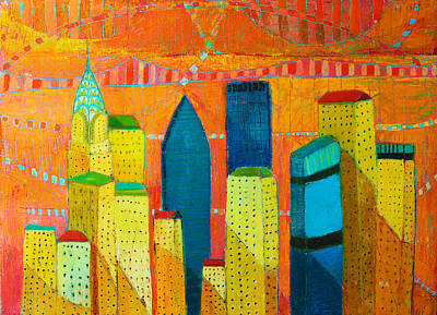 Painting - classic an modern new york city with Chrysler by Habib Ayat