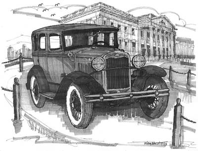 Ford Model A Drawing - Classic Auto With Mills Mansion by Richard Wambach