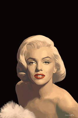 Portrait Of Marilyn Monroe Painting - Classic Beauty In Black by Chris Consani