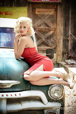 Marilyn Photograph - Classic Red Dress Beauty by Jt PhotoDesign