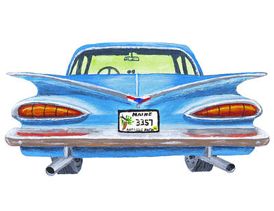 Classic Blue Chevy Car Painting Art Print by Keith Webber Jr
