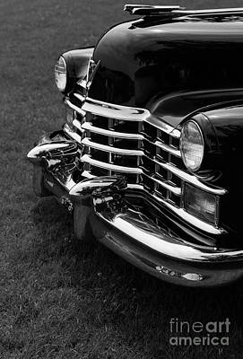 Caddy Photograph - Classic Cadillac Sedan Black And White by Edward Fielding