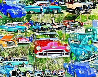 Classic Car Collage Art Print