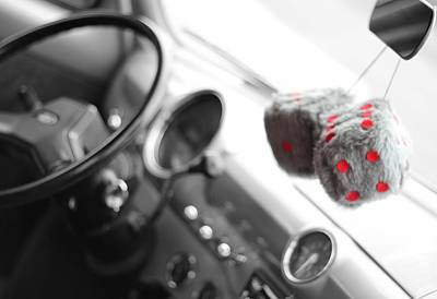 Photograph - Classic Car Fuzzy Dice by Dan Sproul