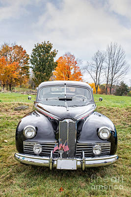 Oldtimers Photograph - Classic Car In Autumn Farm Field by Edward Fielding