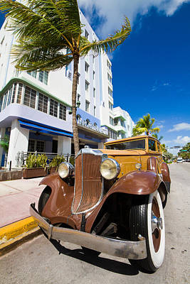 Detail Photograph - Classic Car Miami Art Deco District by Mr Bennett Kent