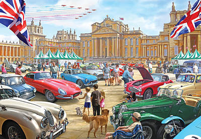Classic Car Show At Blenheim 2015 Art Print by Steve Crisp