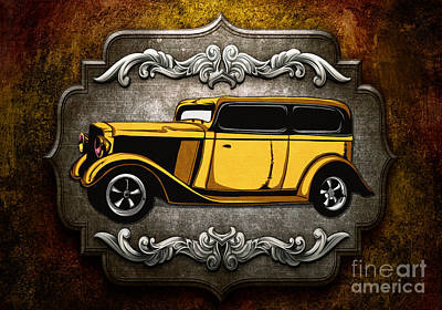 Black Background Mixed Media - Classic Cars 06 by Bedros Awak