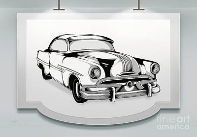 Black Background Mixed Media - Classic Cars 07 by Bedros Awak