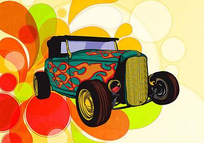 Mechanics Mixed Media - Classic Cars 09 by Bedros Awak