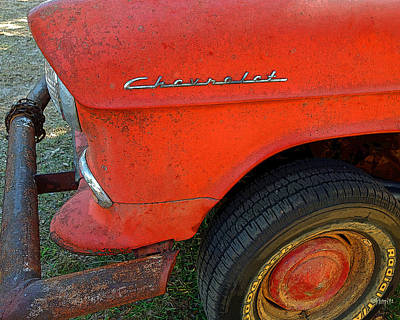 Photograph - Classic Chevy Old Rusty Red Chevrolet Car by Rebecca Korpita