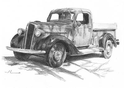 Drawing - Classic Chevy Truck Pencil Portrait by Mike Theuer