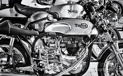 Photograph - Classic Chrome Cafe Racer Motorcycles by Tim Gainey