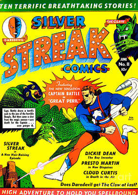 Super Hero Photograph - Classic Comic Book Cover - Silver Streak Comics Captain Battle - 0250 by Wingsdomain Art and Photography