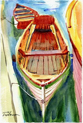 Classic Dinghy - Watercolor Sketch Art Print by Ron Wilson