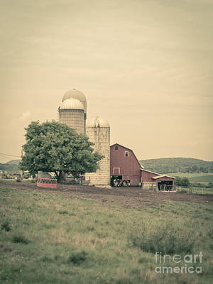 Classic Farm With Red Barn And Silos Print by Edward Fielding