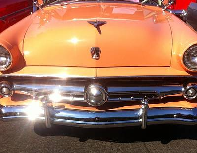 Photograph - Classic Ford Car Hood Peach by Susan Garren