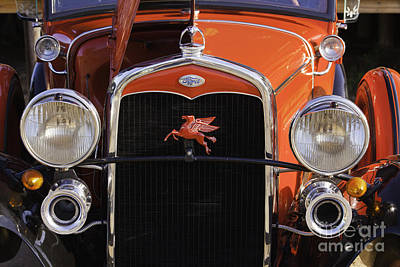 Classic Ford Police Car Automobile Grill In Red Color 3012.02 Art Print by M K  Miller