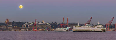 Photograph - Classic Full Moon And Ferries Panorama by Scott Campbell