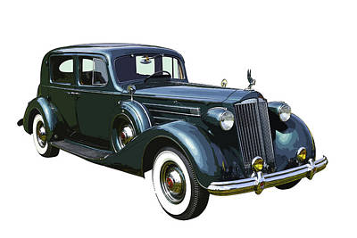 Classic Green Packard Luxury Automobile Art Print