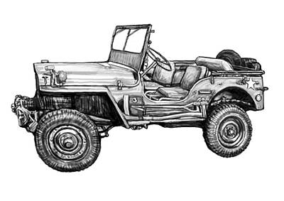 Jeep Drawing - Classic Jeep In World 2 Drawing Art Poster by Kim Wang