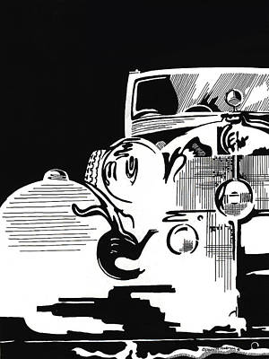 Mercedes Automobile Drawing - Classic Lines by Liz Evensen