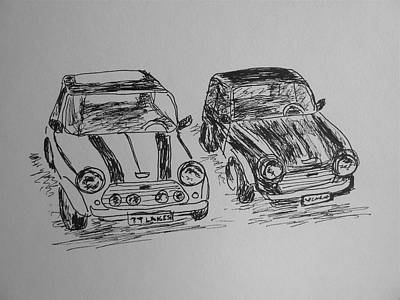 Drawing - Classic Minis by Victoria Lakes