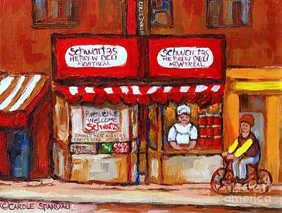 Painting - Classic Montreal Painting Schwartz Deli Storefront Window With Chef And Red Peppers Circa 1960   by Carole Spandau