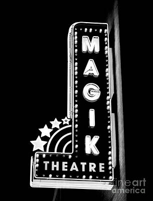 Digital Art - Classic Movie Theater Marquee Americana San Antonio Texas Black And White Conte Crayon Digital Art by Shawn O'Brien