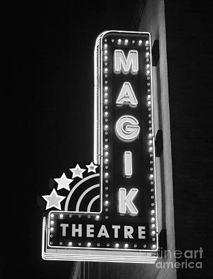 Photograph - Classic Movie Theater Marquee Americana San Antonio Texas Black And White by Shawn O'Brien
